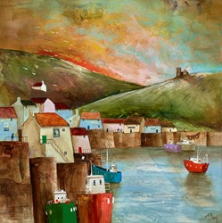 Chapel on the Hill by Keith Athay - Varnished Original Painting on Box Canvas sized 24x24 inches. Available from Whitewall Galleries